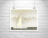 Soft spring sunshine: Sailboat Art, Sailing Print, Nautical Art, Boat Photography, Sailboat Picture, Pale Yellow, Sea, Block Island, Ocean, Boats, Ships