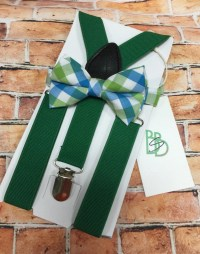 Little Boys Bow Tie and Suspender Set Green Aqua Plaid