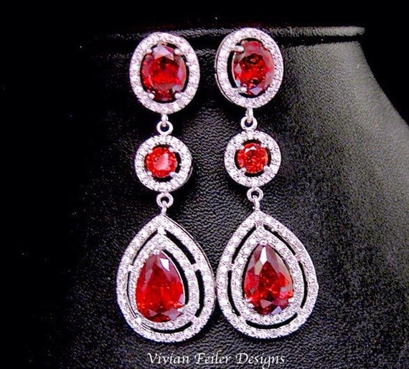 Wedding Earrings RED BRIDAL EARRINGS Lux Prom Pageant