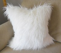 off-white Mongolian faux fur pillow cover COVER ONLY