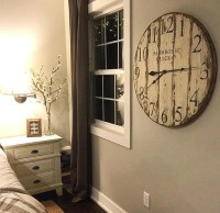 Farmhouse Clock Co. Distressed Large Round Wooden Wall Clock