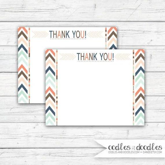 Tribal Thank You Note, Boho, Printable Tribal Cards, Tribal Party - printable thank you note