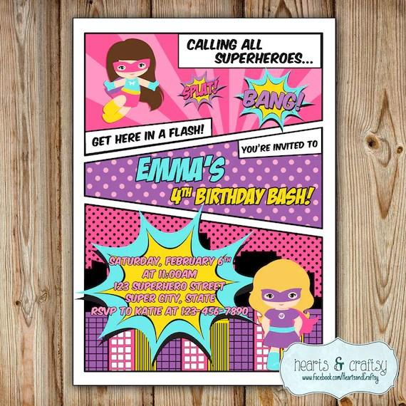 Superhero Girl Party Invitation / Girl Super Hero Birthday