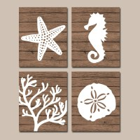 Beach BATHROOM Wall Art CANVAS or Prints Nautical Coastal