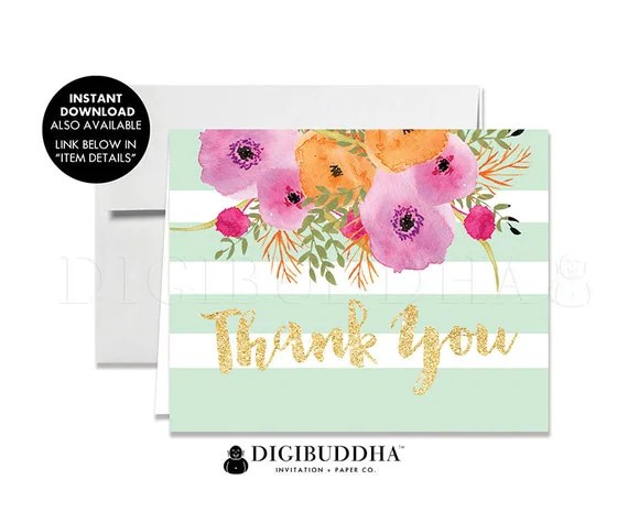 THANK YOU CARDS Folded A2 Thank You Card Note Wedding Thank You Note