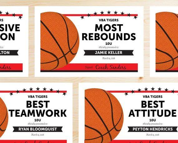 printable basketball certificates