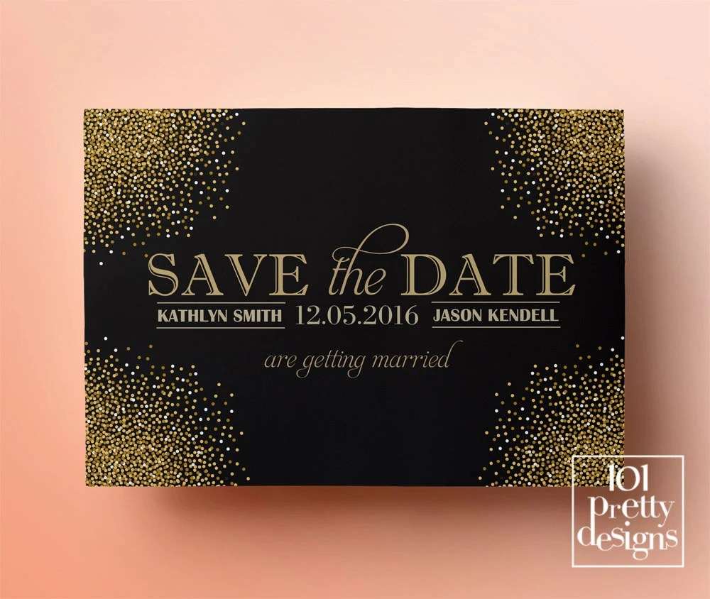Printable save the date template gold glitter save the date design - save the date template