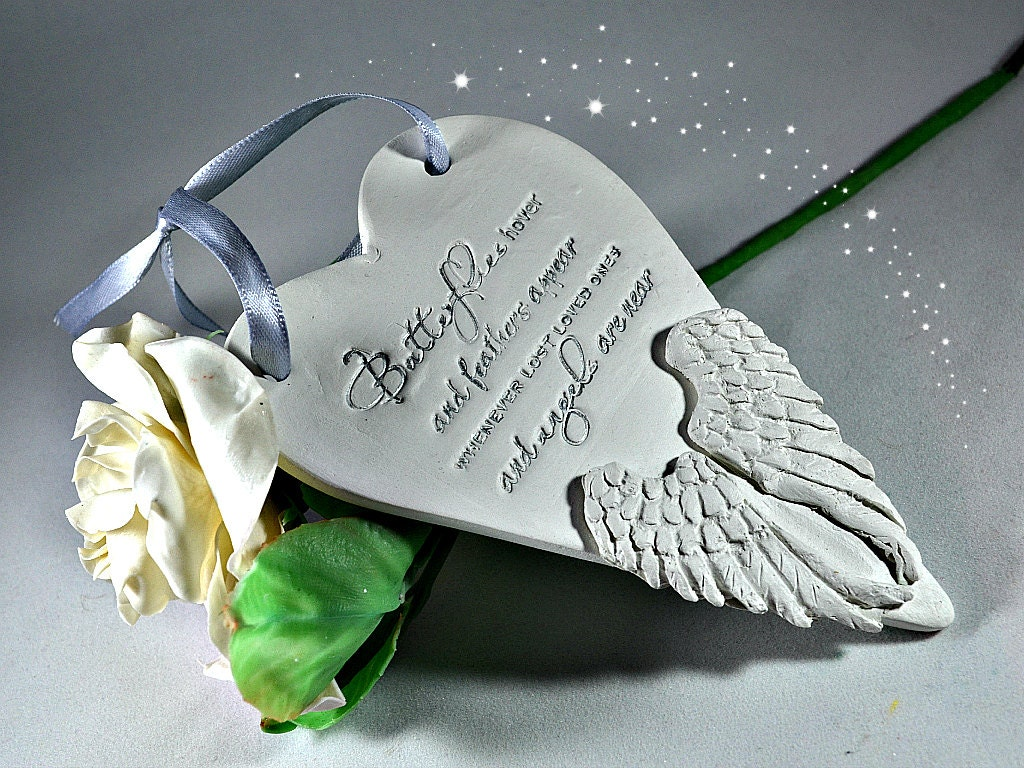 Memorial ornaments in loving memory bereavement gifts feathers appear when angels are near