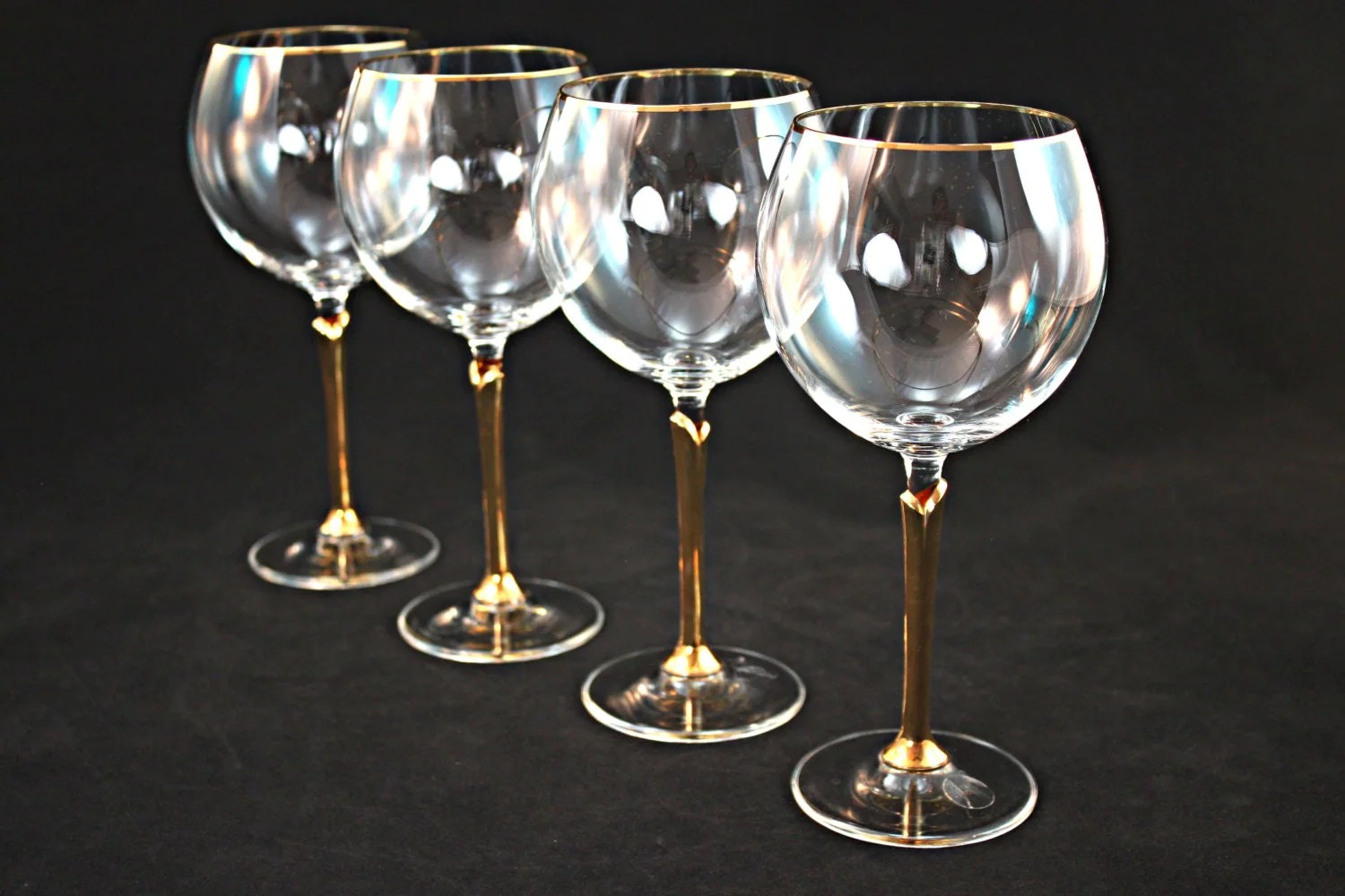 Crystal Stemware Wine Glasses Gold Rimmed Crystal Wine Glass Set Crystal Stemware Crystal