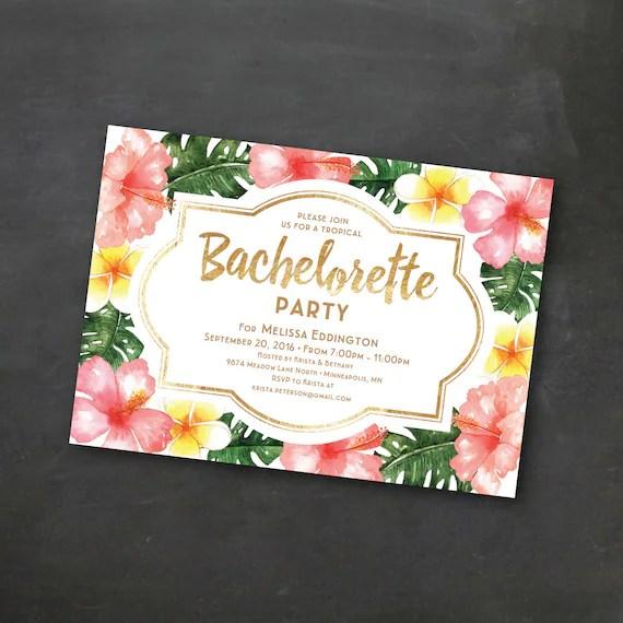 Tropical Printable Bachelorette Invitation Template, Luau Party