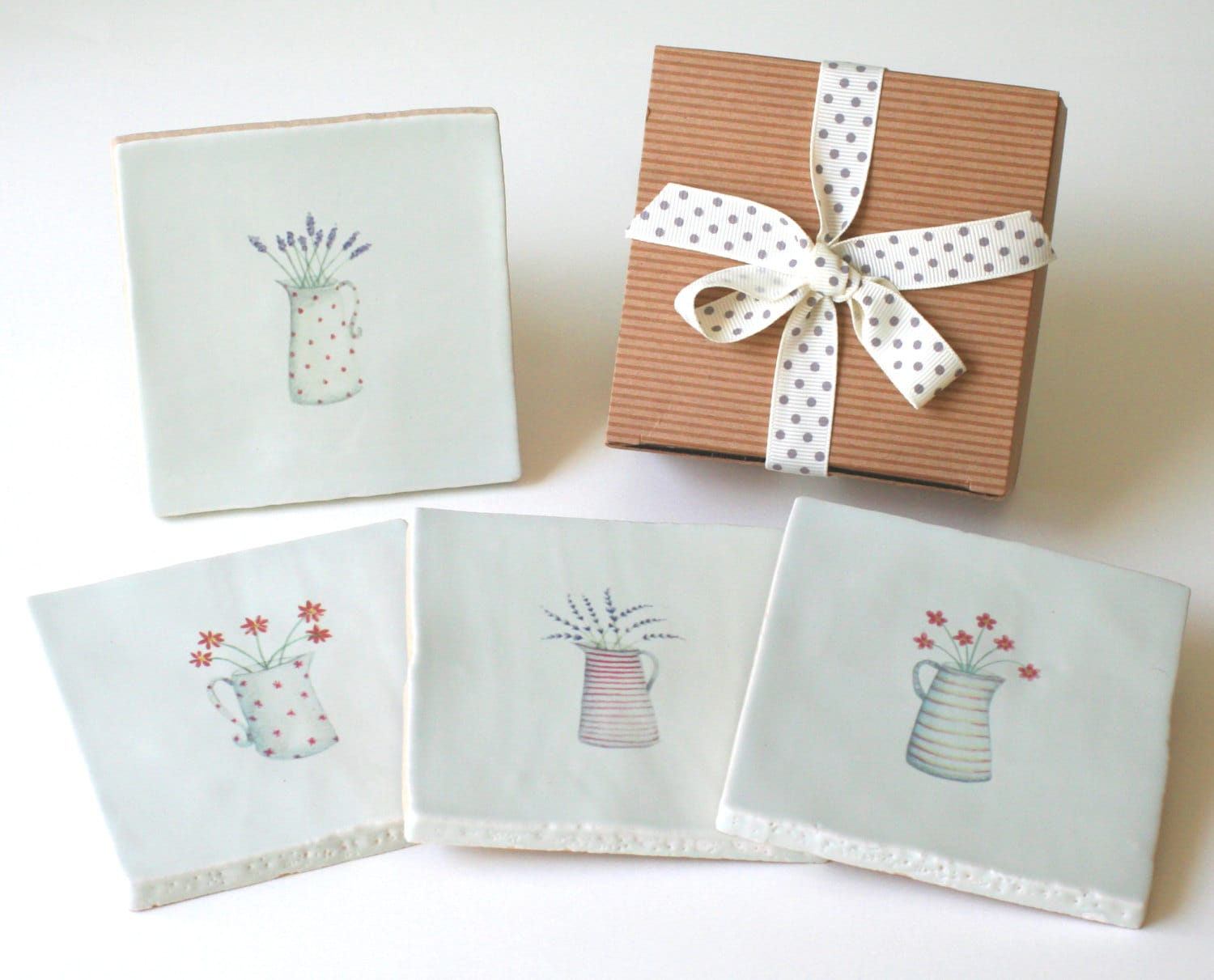 Housewarming Gift For Sister Handmade Ceramic Coasters With Gift Box Floral Drinks