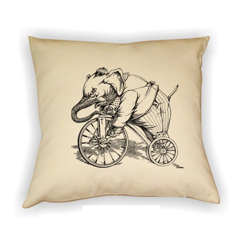 Elephant Riding Bicycle Pillow Cover Vintage Elephant