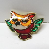 Owl Pin Enamel and Gold Tone Lapel Pin Scatter Pin Tie