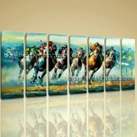 Large Wall Art Famous Horse Racing Abstract Painting On Canvas