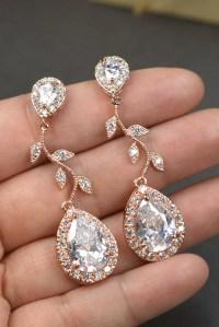 Rose gold Crystal Bridal earrings Wedding jewelry set Wedding