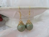 Christmas ball ornament green ornament earring by ...
