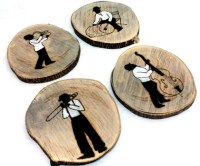 Music Gift Wood Coasters Music Gift for men Music Drink