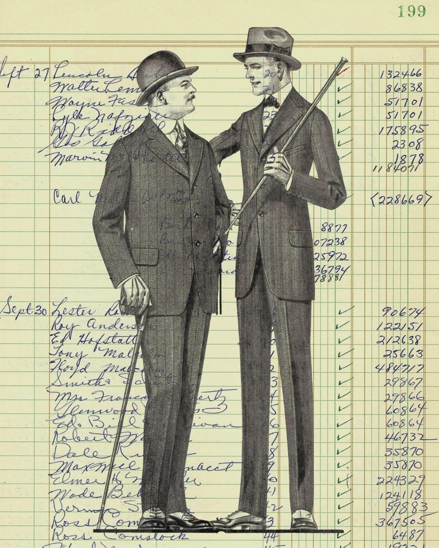 Authentic Vintage Ledger Paper Print Men Fashion From Vintage