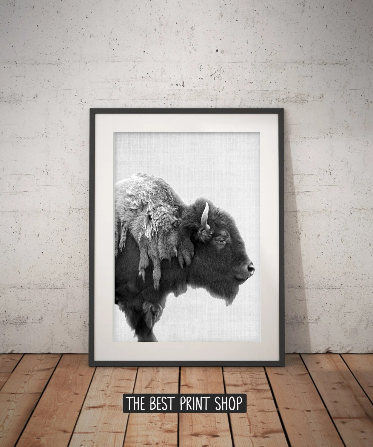 Large Black And White Posters Buffalo Print Bison Wall Art Black And White Buffalo Modern