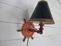 Nautical Vintage Wood Ship Wheel Wall Lamp Navy/Gold Shade