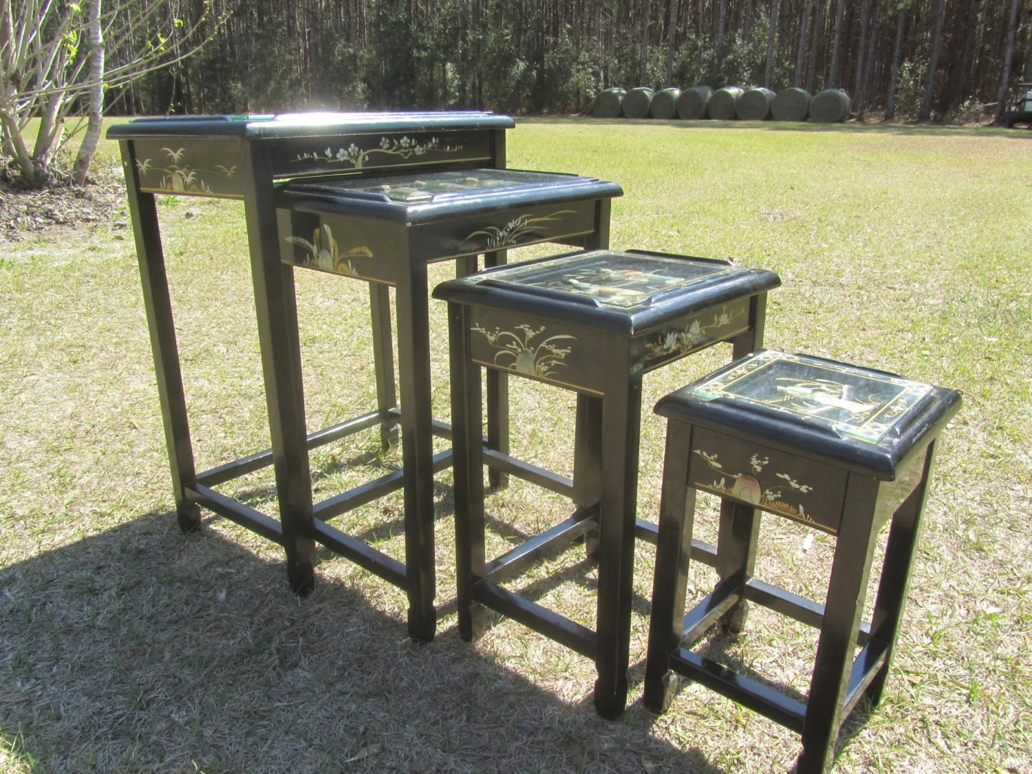 Asian Nesting Tables Asian Nesting Table Black Laquer Nesting Table Oriental Side