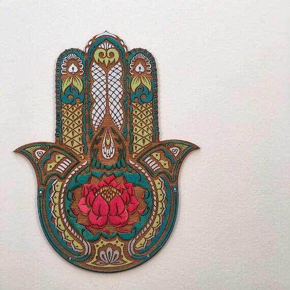 Lotus Flower Hamsa Wall Art Hand Painted Sacred Protection