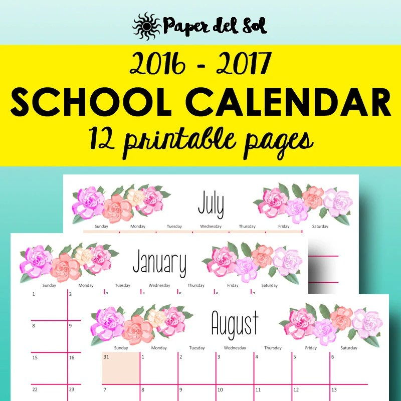 Academic Calendar New School Bags Calendar Wright State University Monthly Planner 2016 2017 Academic Calendar By Paperdelsol