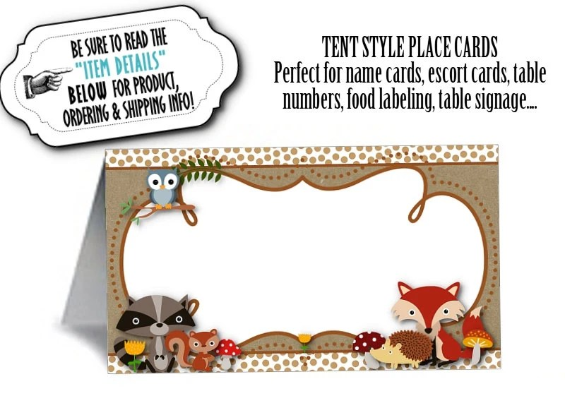 12 Tent Style Place Cards, Food Label Cards, Table Signs, Baby