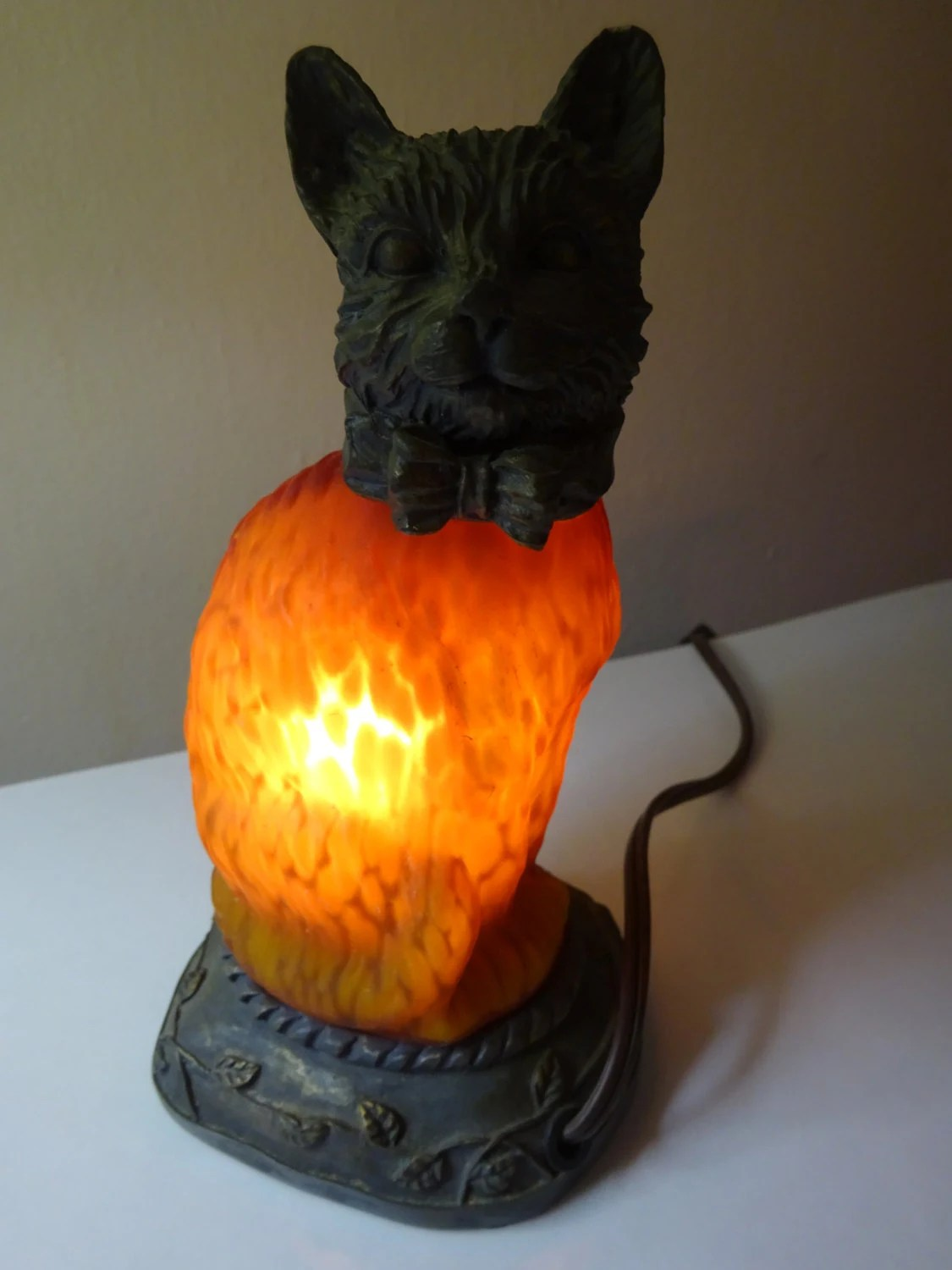 Cat Night Lights Vintage Amber Glass Cat Night Light Free Shipping