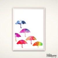 Umbrella Art Print Umbrella Wall Art Nursery silhouette