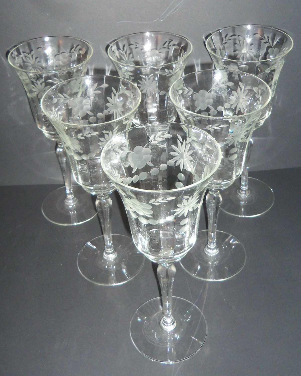 Crystal Stemware Wine Glasses Six Etched Crystal Wine Glasses Vintage Stemware