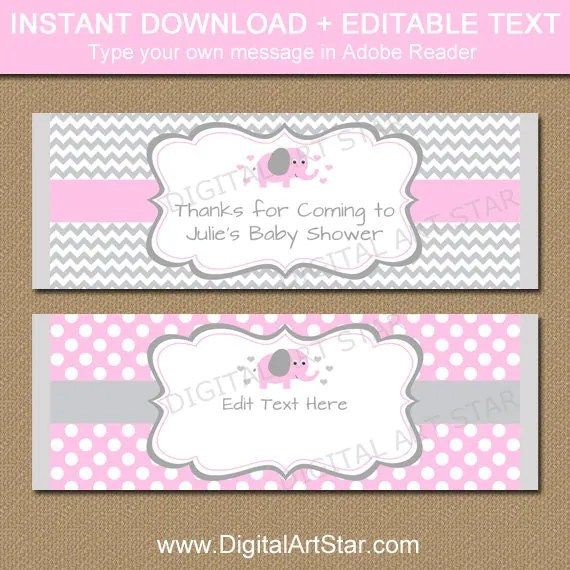 EDITABLE Chocolate Bar Wrapper Template - Printable Pink Elephant