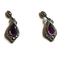 Vintage AVON Dangle Earrings with Amethyst Purple Rhinestone