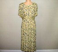 Yellow Floral Dress Petite Size 14 Dress Summer Floral Dress