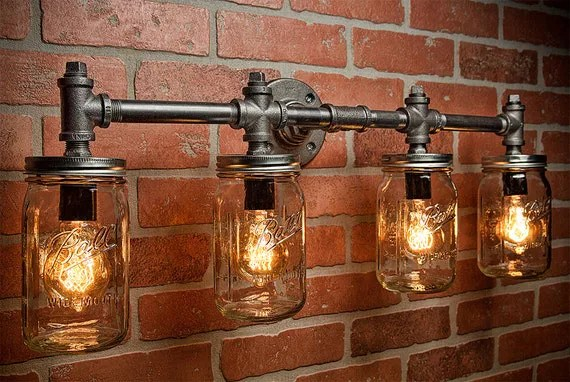 Wall Sconce Lights That Plug In Industrial Lighting Lighting Mason Jar Light Steampunk