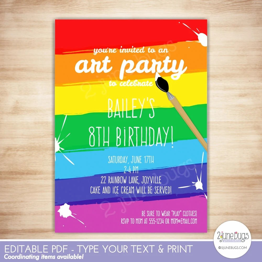 Art Party Invitation Template - Paint Party Printable Invitation - birthday party card template