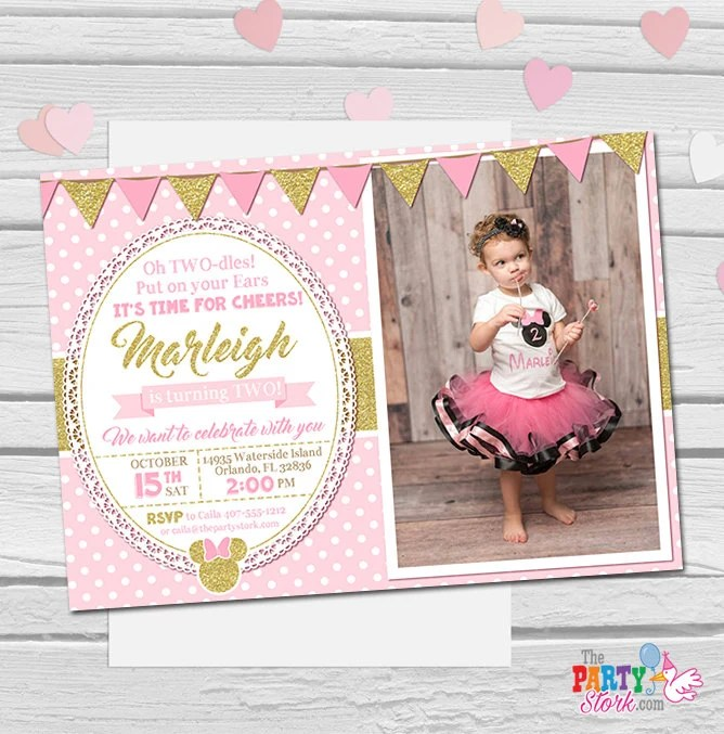Minnie Mouse Invitation, Oh Twodles Invitation, Pink and Gold Minnie