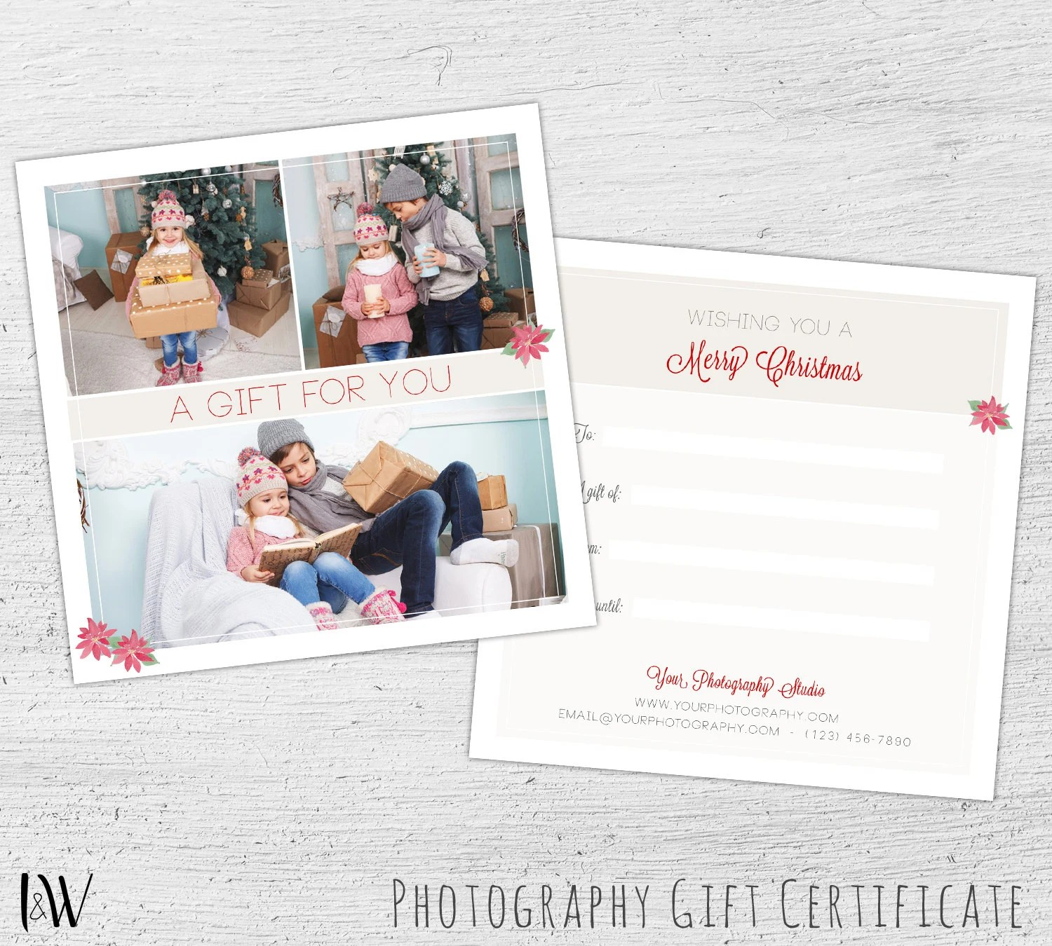 Christmas Gift Certificate, Photoshop Template, Photography Gift