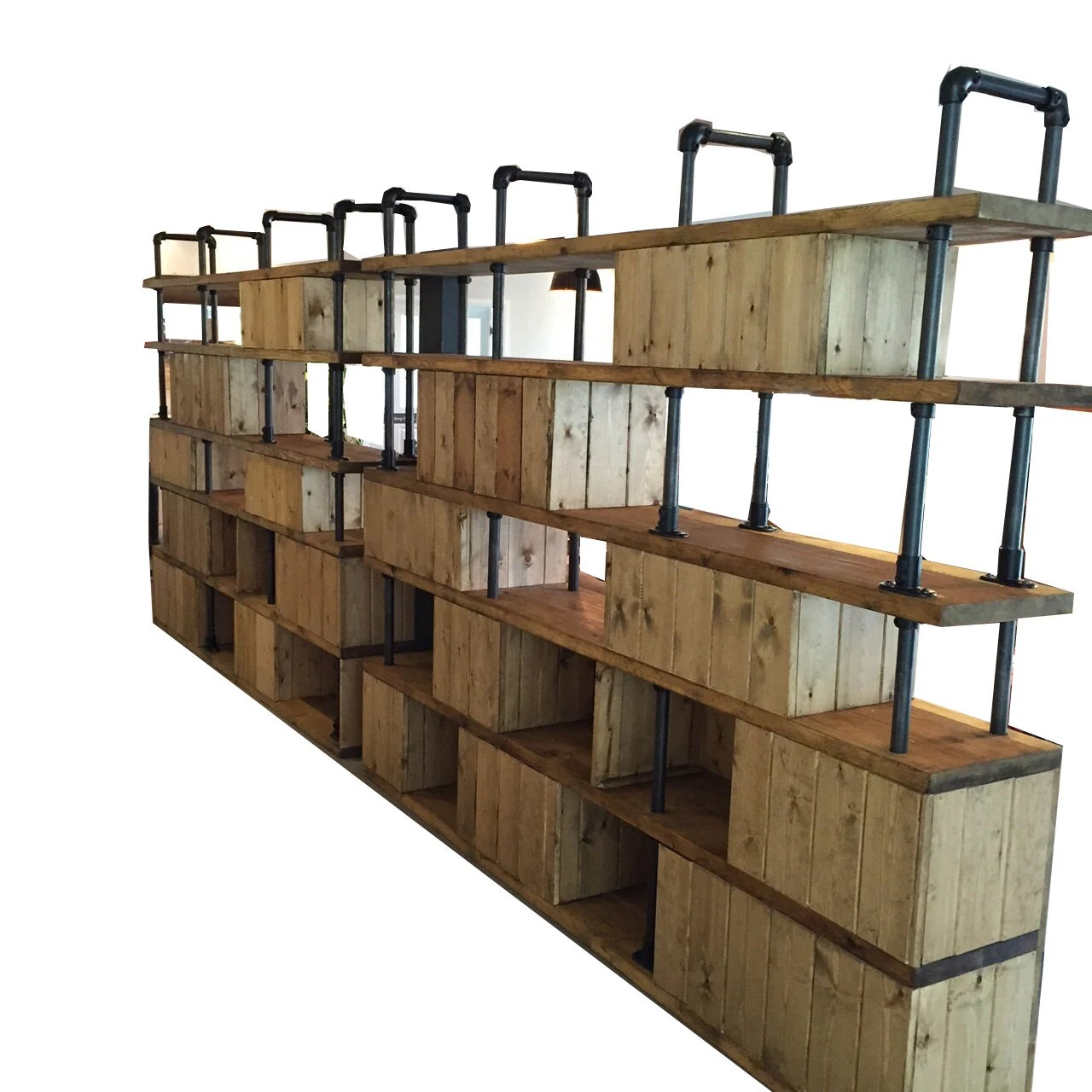 Industrial Wall Shelving Units Vintage Industrial Style Dividing Wall Shelving Unit By