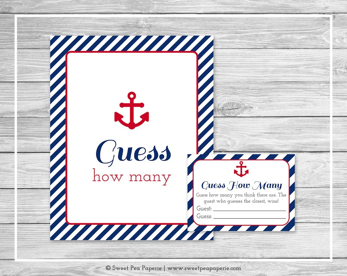 Nautical Baby Shower Guess How Many Game - Printable Baby Shower