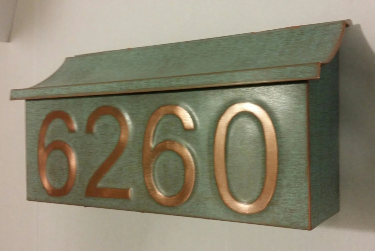 Copper Mailbox Patina Green Patina Copper Mailbox With House Numbers