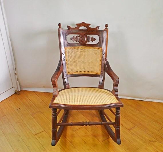 Antique Rocking Chair Wood Rocking Chair Rare Cane Chair