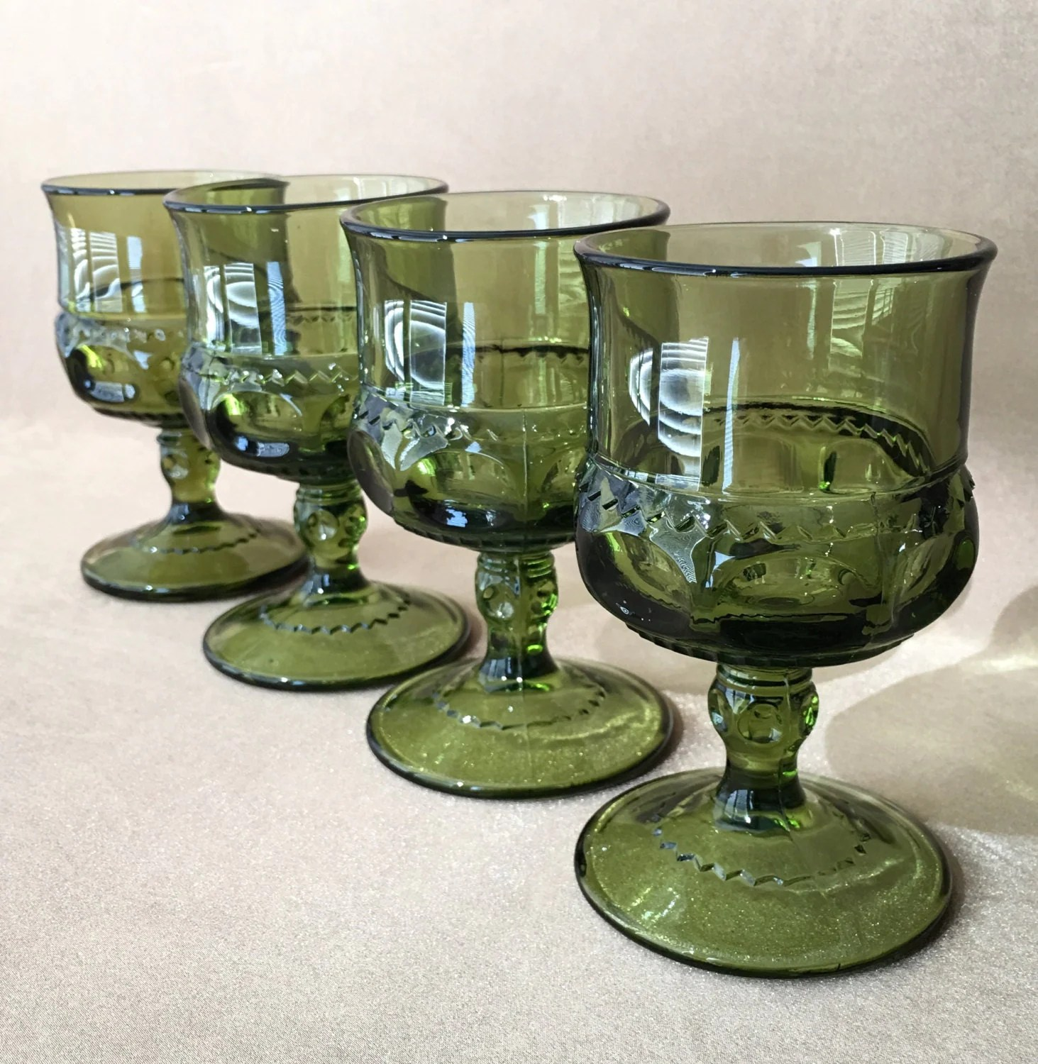 Goblet Style Wine Glasses Green Wine Glasses Kings Crown Goblet Mid Century Style