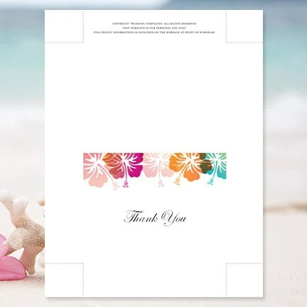 Printable Thank You Card Template Hibiscus Editable Word Instant - make your own thank you cards
