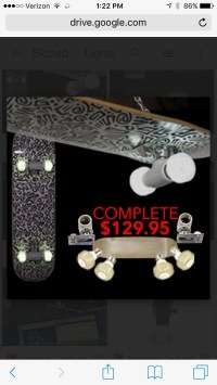 Skateboard light fixture with LED wheel bulbs and by ...