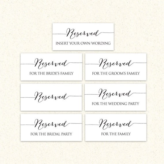 reserved signs templates free