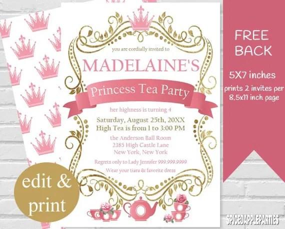 Princess Tea Party Invitation Tea Party Princess Tea - tea party invitation