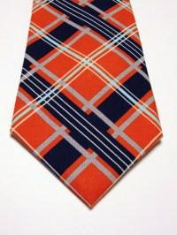 Plaid Necktie, plaid Tie, Orange Necktie, Orange Tie, Navy ...