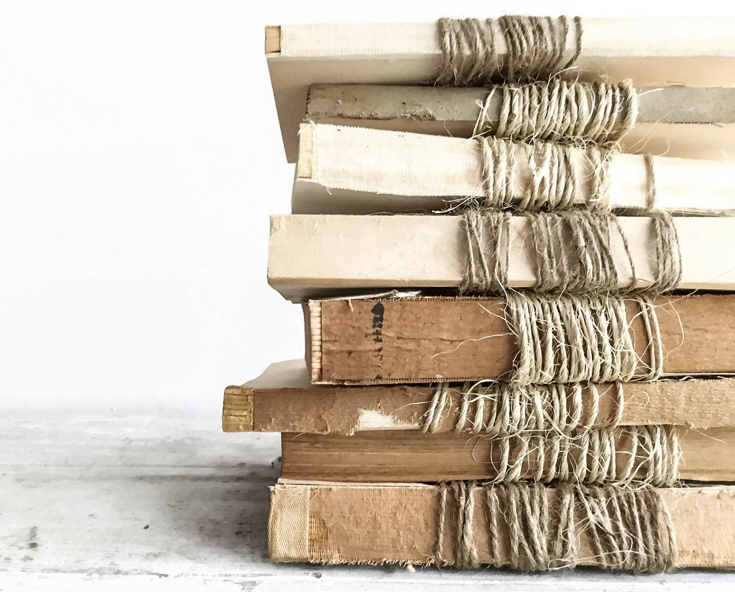 Books Decor Set Of 3 Unbound Vintage Books Wrapped In Twine Farmhouse