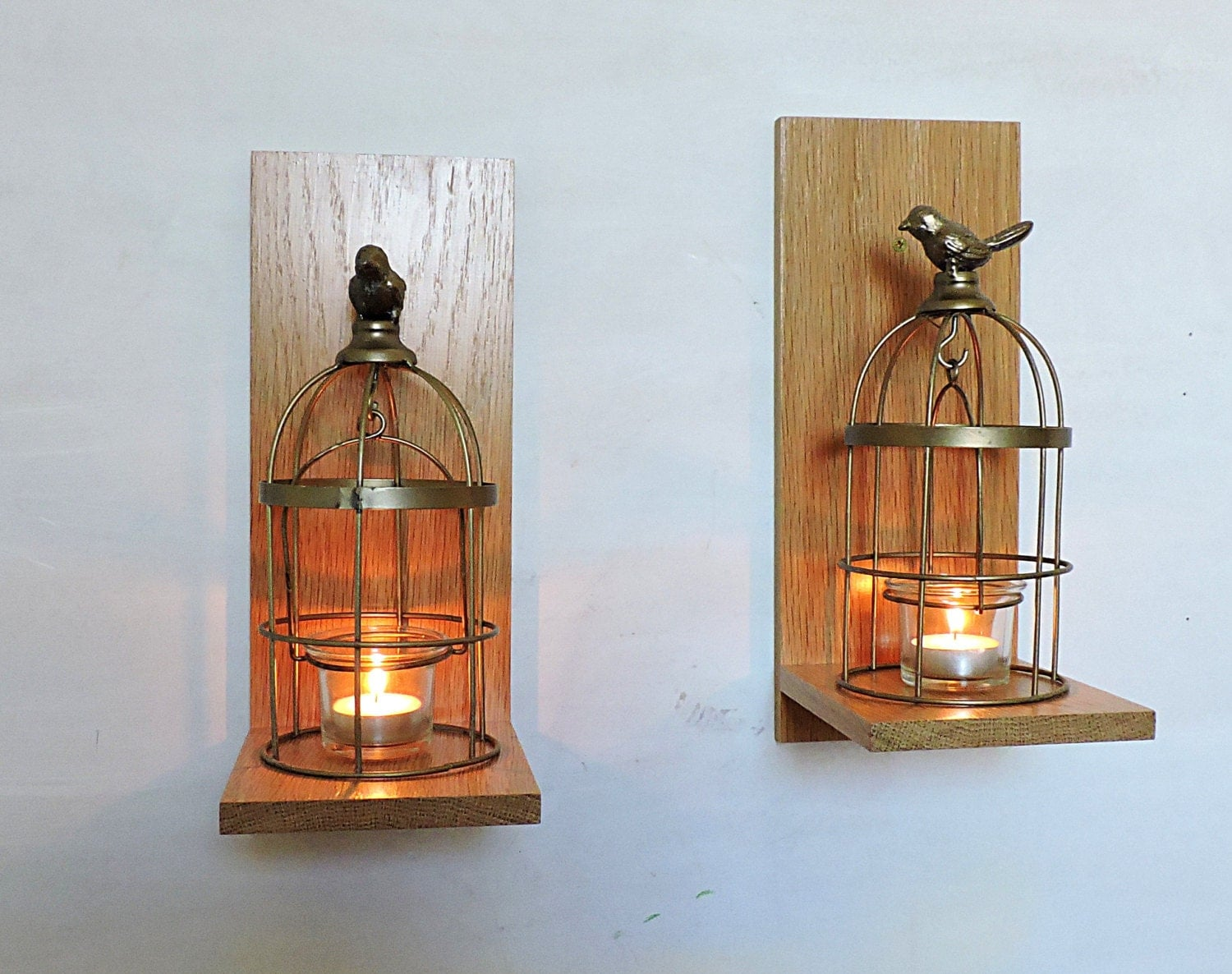 2 Rustic Wooden Candle Sconcesoak Candle Holder By